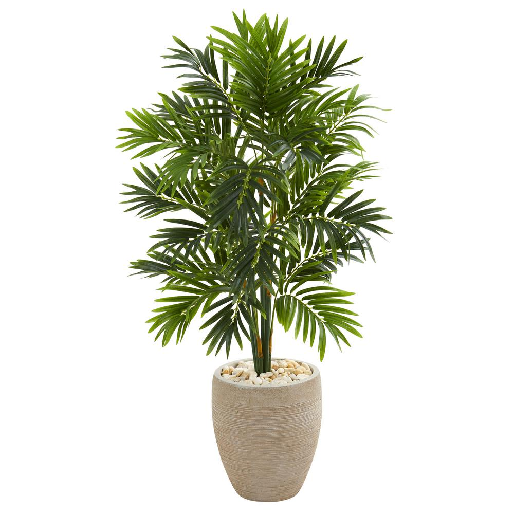 Indoor 4 ft. Areca Artificial Palm Tree in Sand Colored Planter