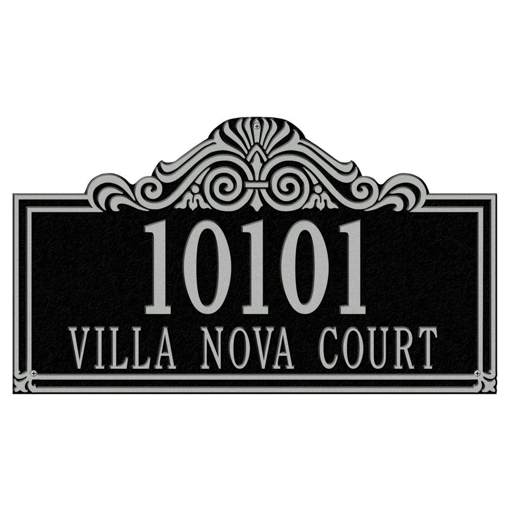 Whitehall Products Villa Nova Rectangular Black/Silver Estate Wall Two Line Address Plaque