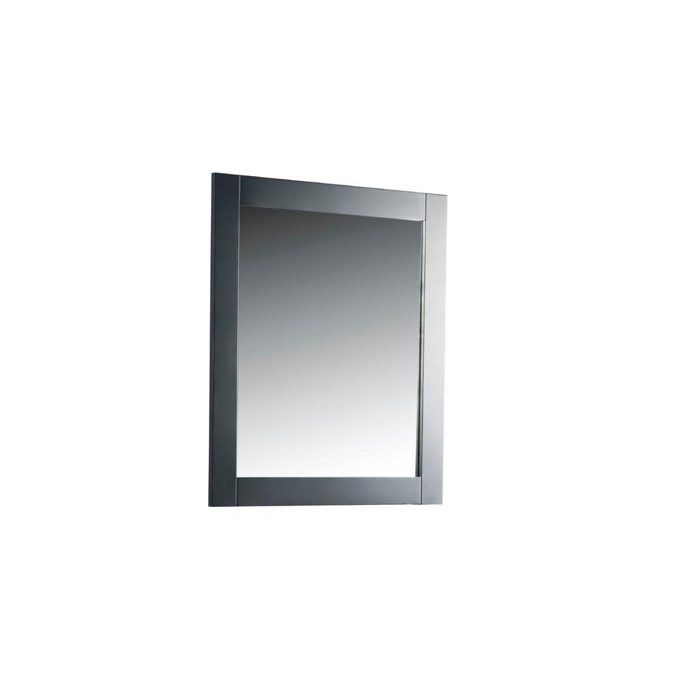 Bellaterra Home 28 in. x 31.5 in. Single Framed Wall Mirror in Dark Gray