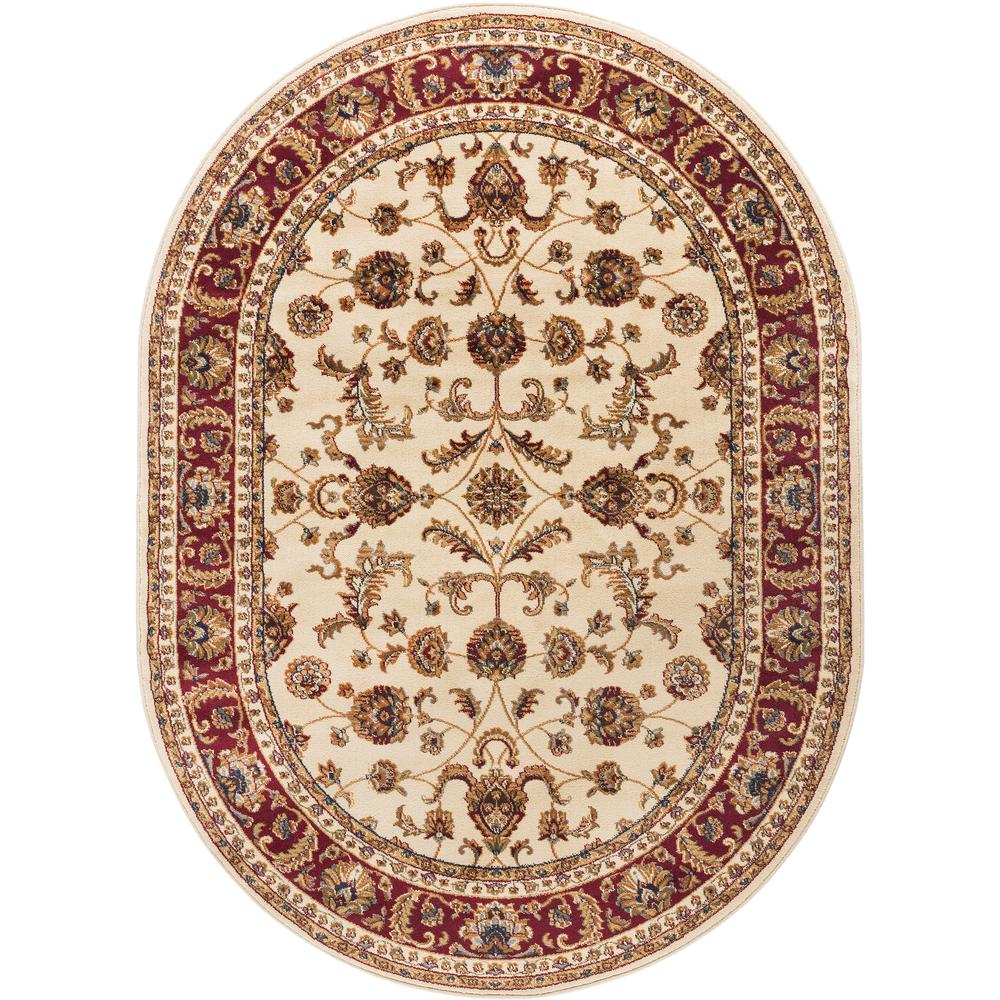 Tayse Rugs Sensation Beige 5 ft. 3 in. x 7 ft. 3 in. Oval Transitional Area Rug