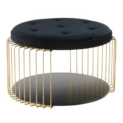 Canary Black Velvet and Gold Tray Top Coffee Table
