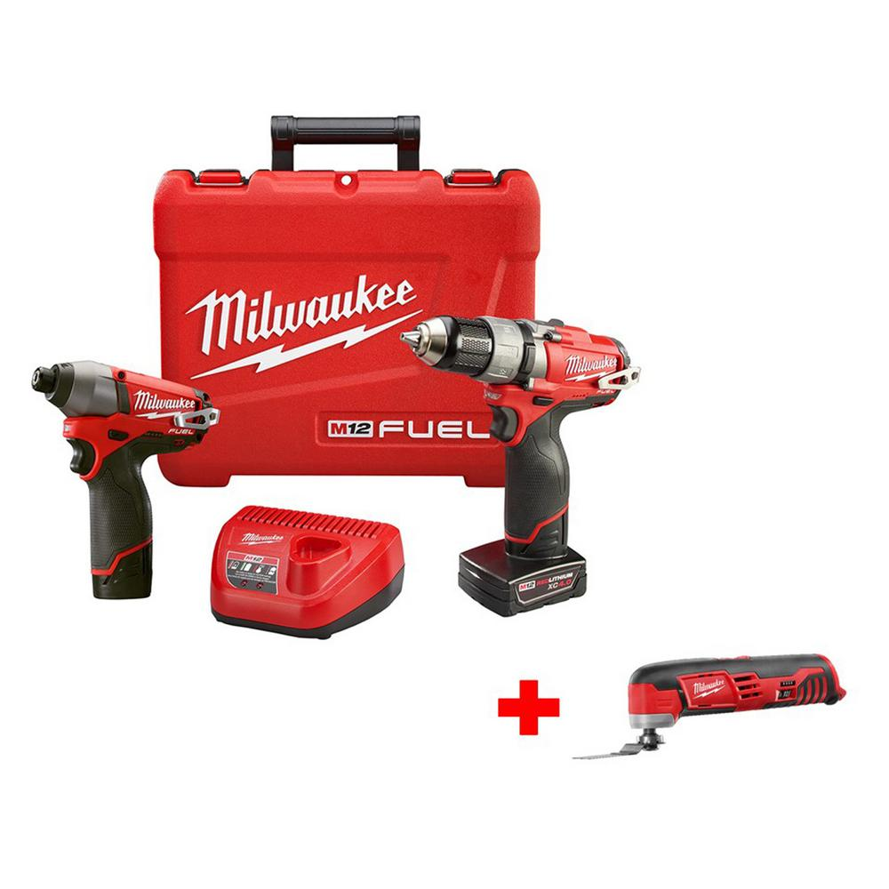 Milwaukee M12 FUEL 1/2 in. Cordless Drill/Driver and Impact Kit with Free M12 Multi-Tool (Tool-Only)