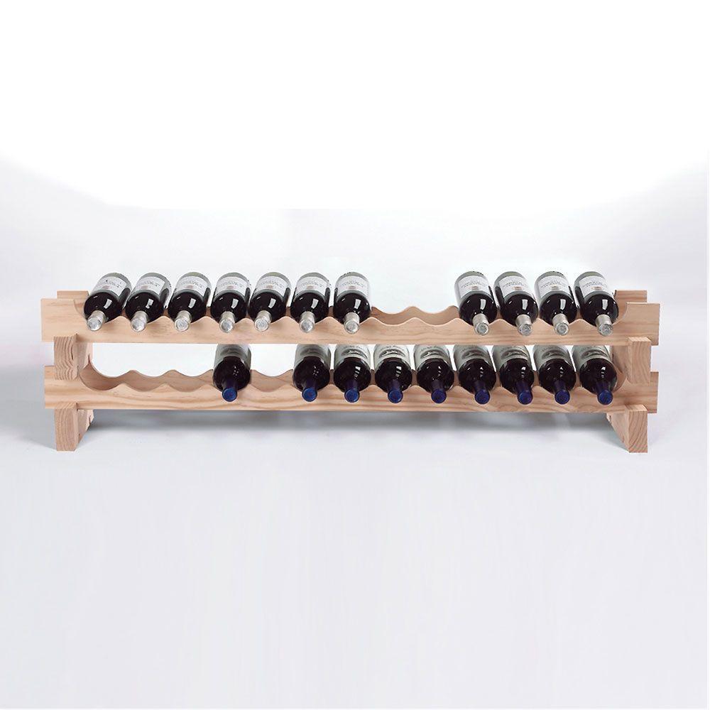 26-Bottle Stackable Wine Rack Kit in Natural