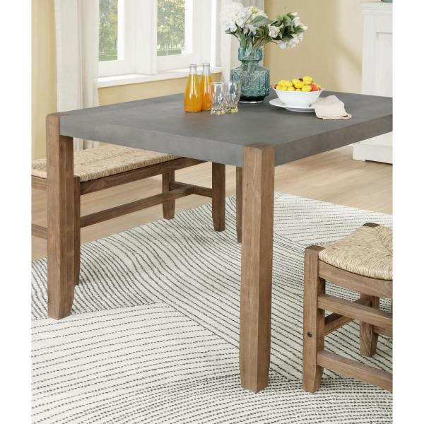 Alaterre Furniture Newport Light Amber Wood And Gray Faux Concrete And Wood Loft Dining Table Annp1771 The Home Depot