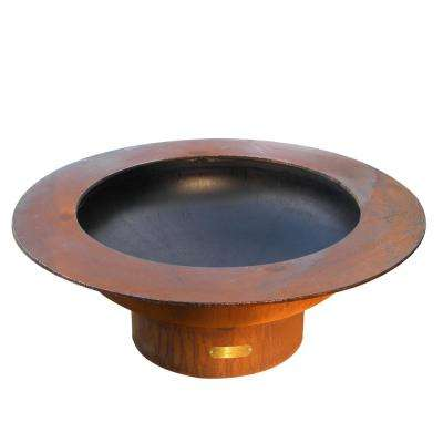 Saturn 40 in. x 14 in. Round Carbon Steel Liquid Propane Fire Pit in Iron Oxide with Lava Rock, Flex Line Kit and Plate