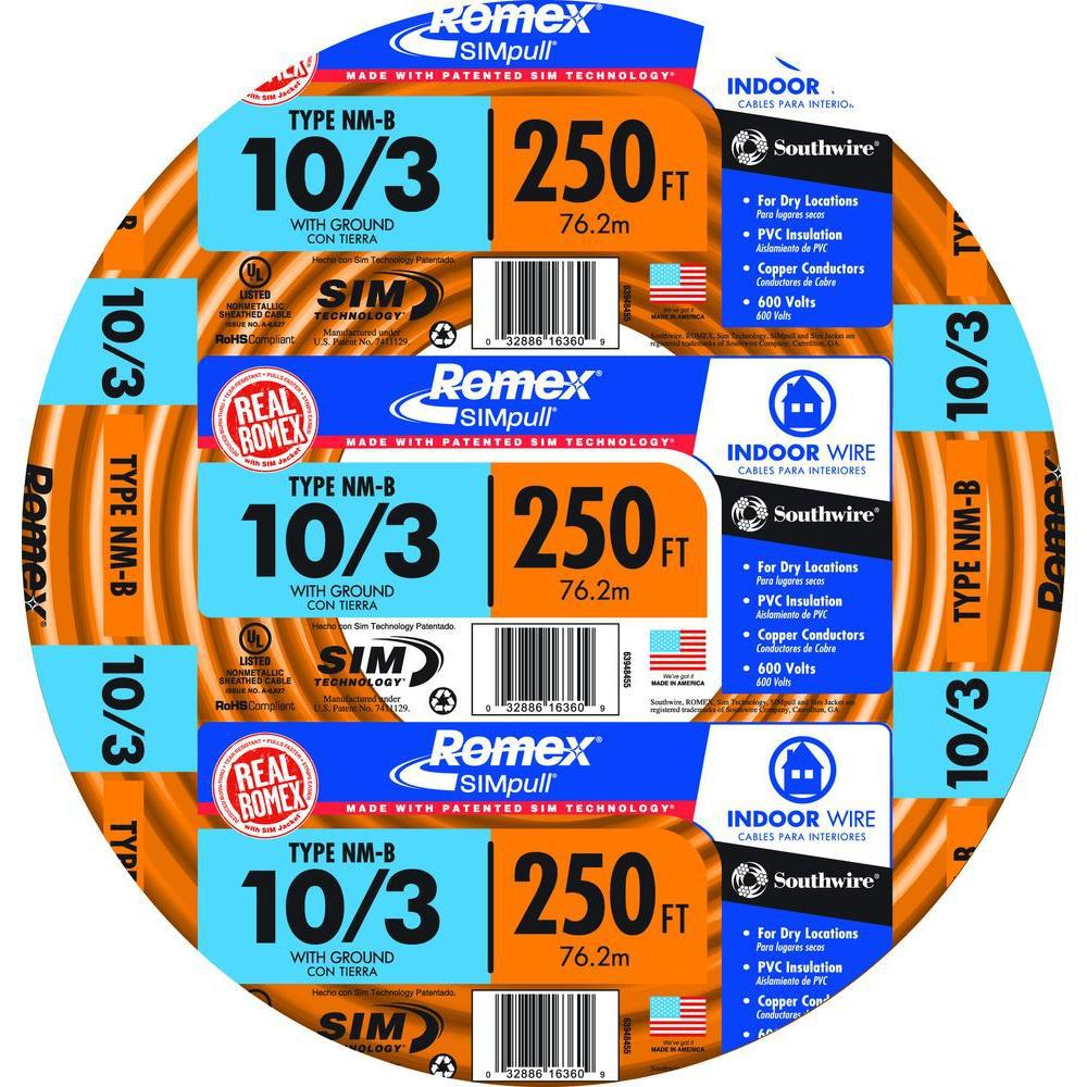 NEW Romex 10//3 With Ground Electrical Wire 100ft coil