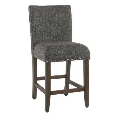 Upholstered 24 in. Slate Gray Bar Stool