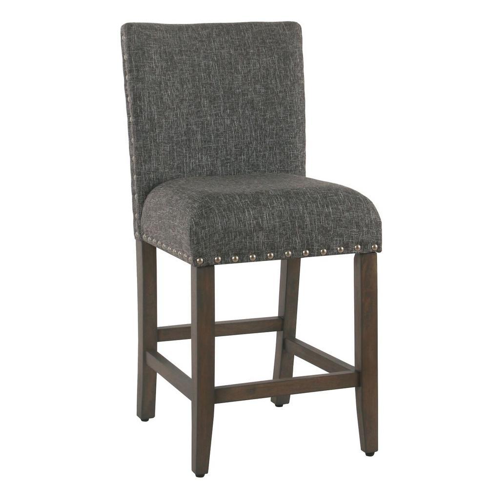 Homepop Upholstered 24 in. Slate Gray Bar Stool