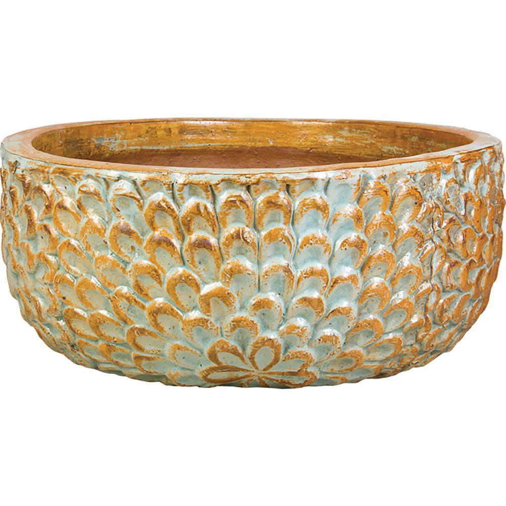 15 in. Mediterranean Blue Ceramic Summer Bowl