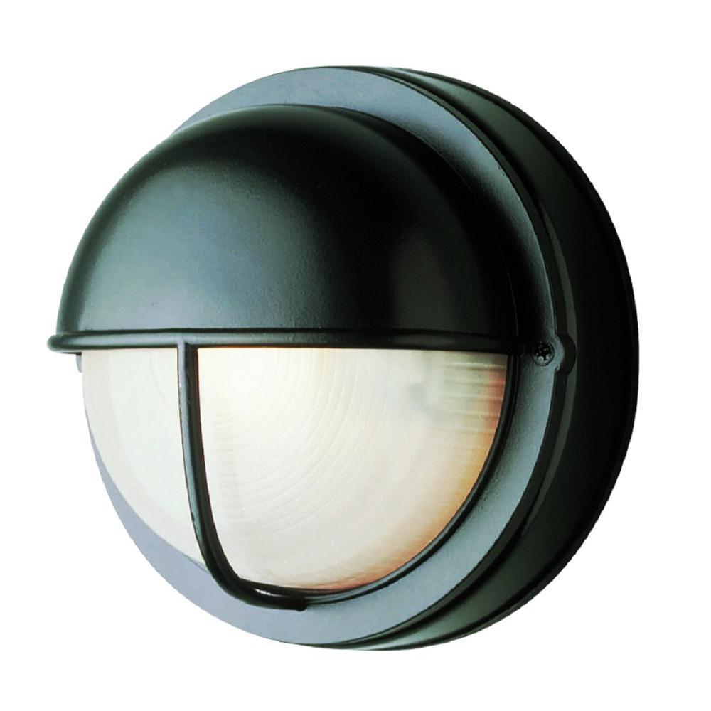 1-Light Outdoor Black Round Bulkhead-Light