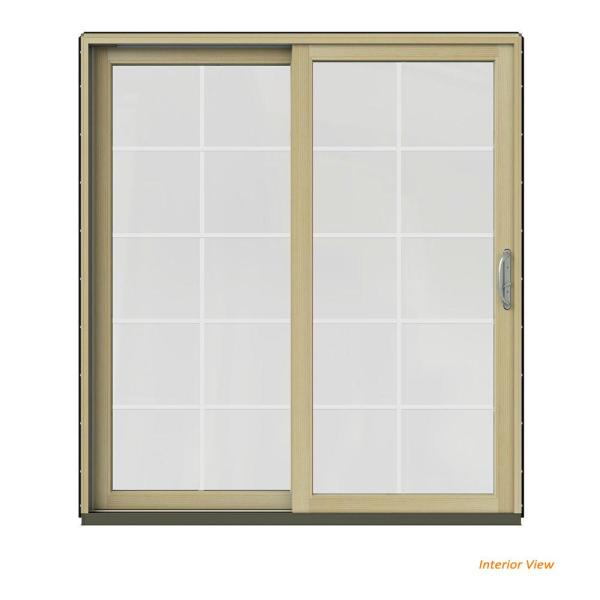 Jeld Wen 72 In X 80 In W 2500 Contemporary Black Clad Wood Left Hand 10 Lite Sliding Patio Door W Unfinished Interior Jw2201 01688 The Home Depot
