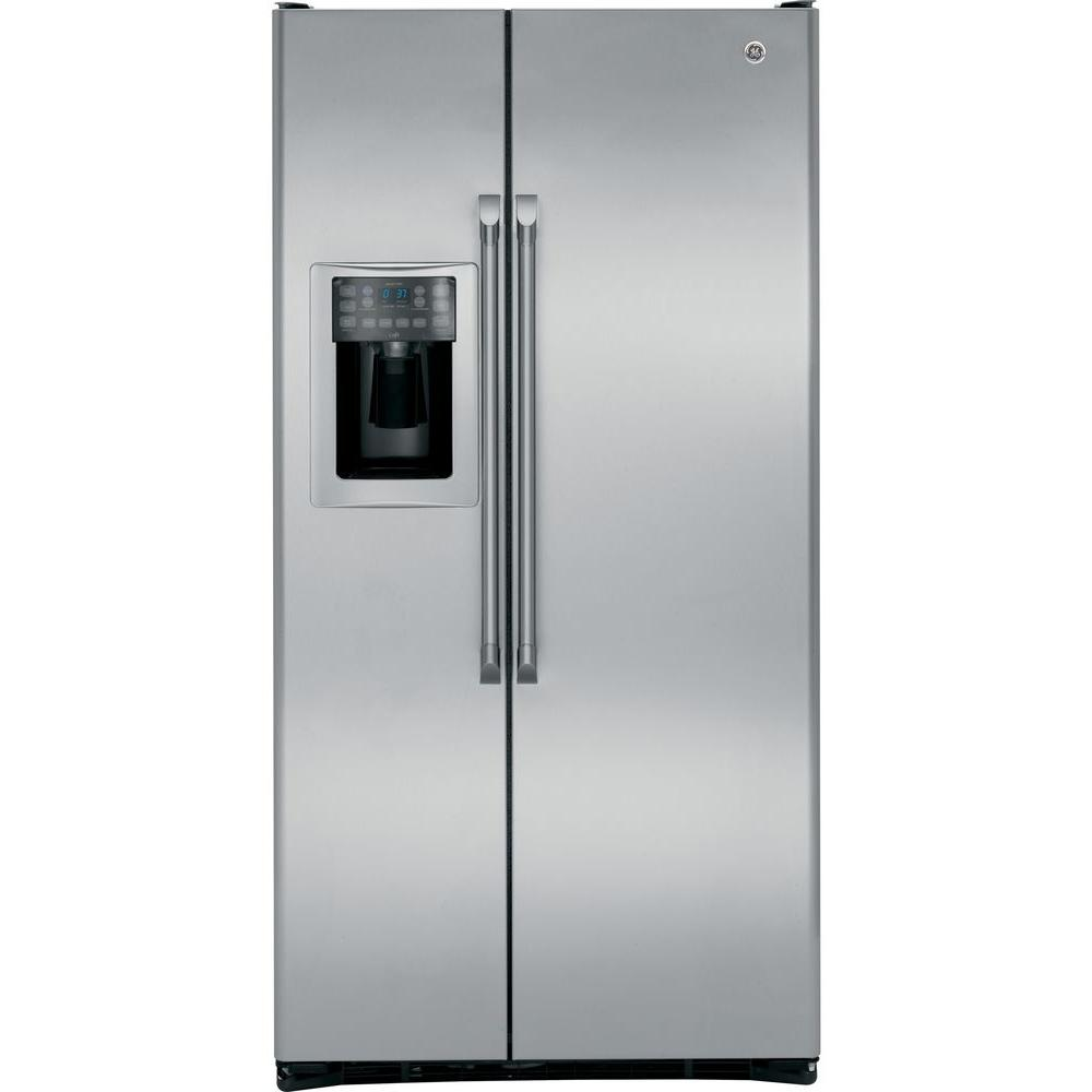 GE Cafe 36 in. W 24.6 cu. ft. Side by Side Refrigerator in Stainless Steel, Counter Depth