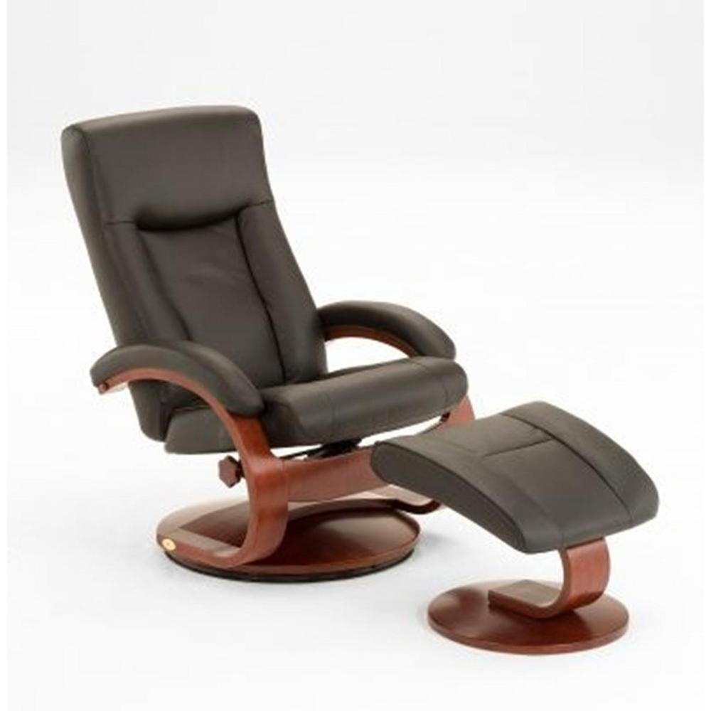 Oslo Collection Black Top Grain Leather Swivel Recliner with Ottoman
