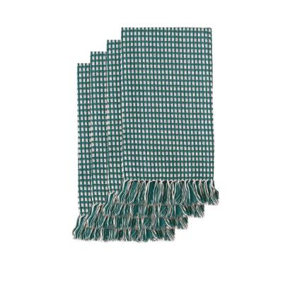 Homespun Fringed 18 in. x 18 in. Hunter Green 100% Cotton Napkins (4-Pack)