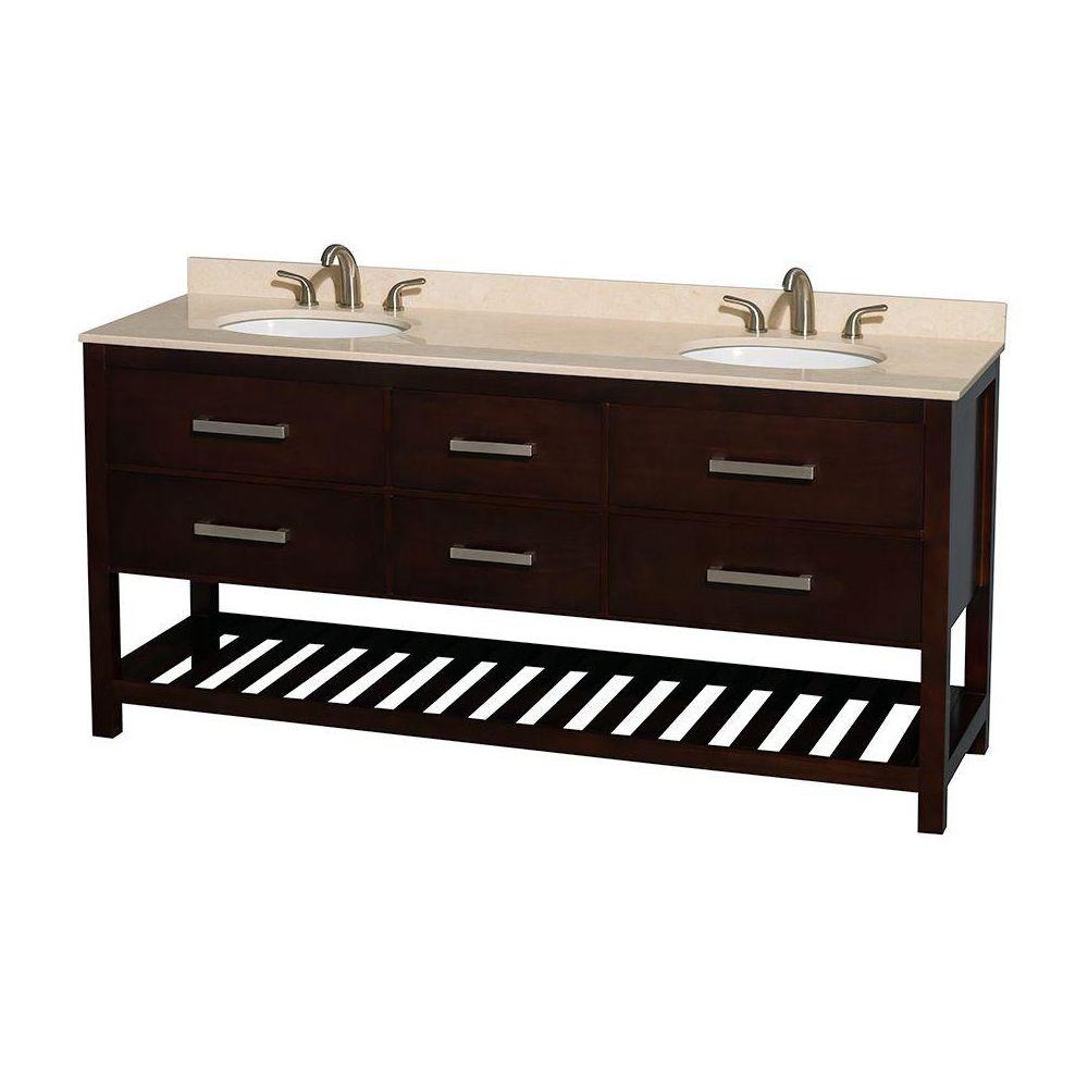 Wyndham Collection Natalie 72 in. Double Vanity in Espresso with Marble Vanity Top in Ivory and Under-Mount Oval Sinks