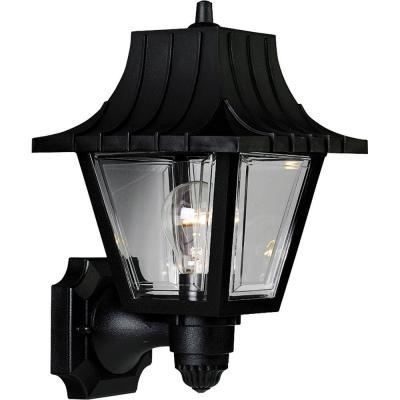 Mansard Collection 1-Light 12.75 in. Outdoor Black Wall Lantern Sconce