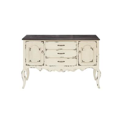 48 in. x 33 in. Farmhouse Distressed White Wood Cabinet with 3 Drawers and 2 Cabinets