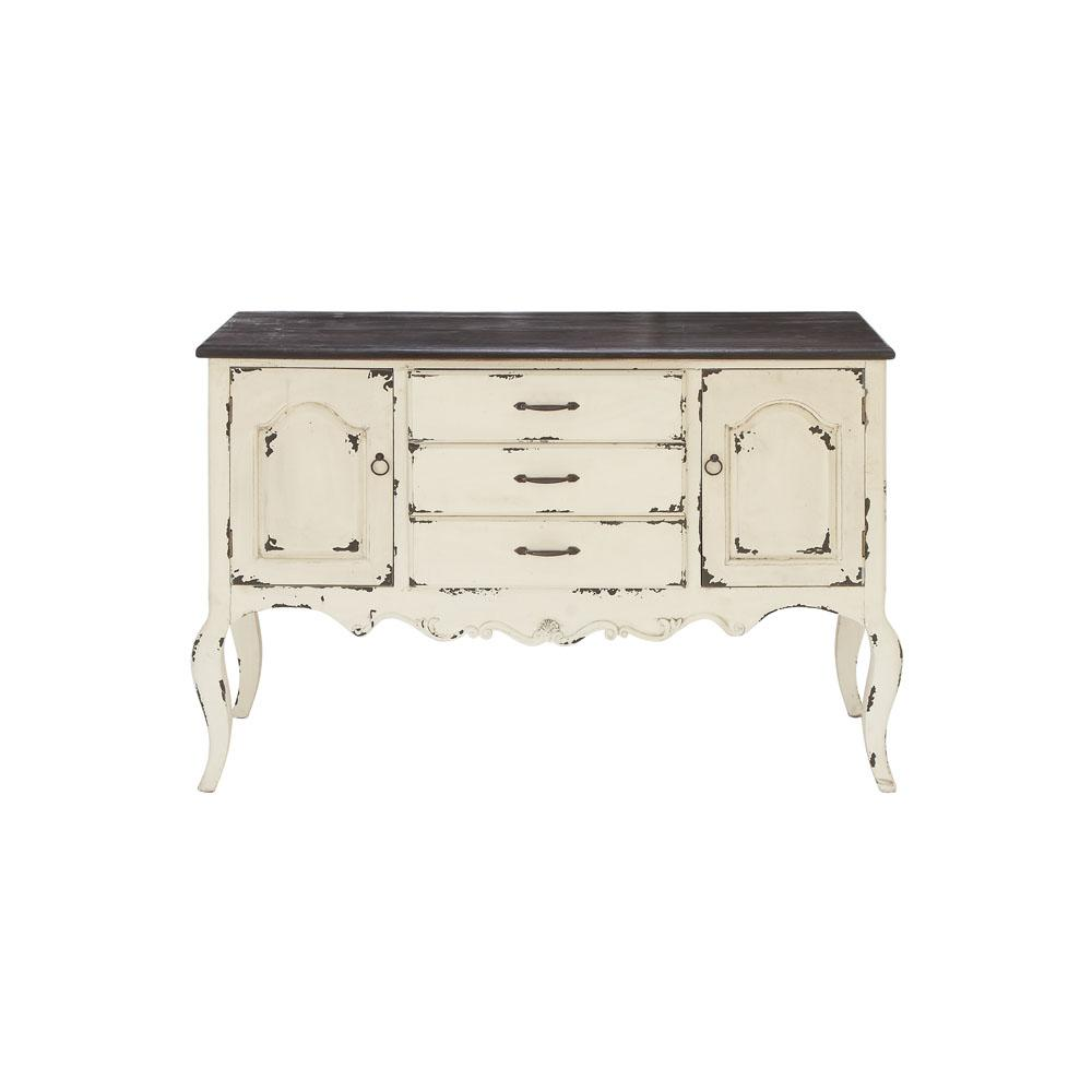 Distressed White Buffet with Dark Brown Top