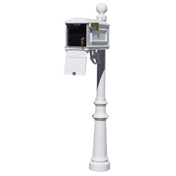 Lewiston White Post Mount Locking Insert Mailbox with Decorative Fluted Base and Ball Finial