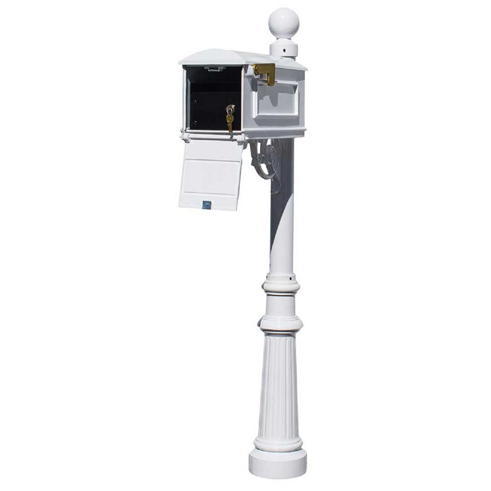 Lewiston White Post Mount Locking Insert Mailbox With Decorative Fluted Base And Ball Finial Lml 804 Wht The Home Depot