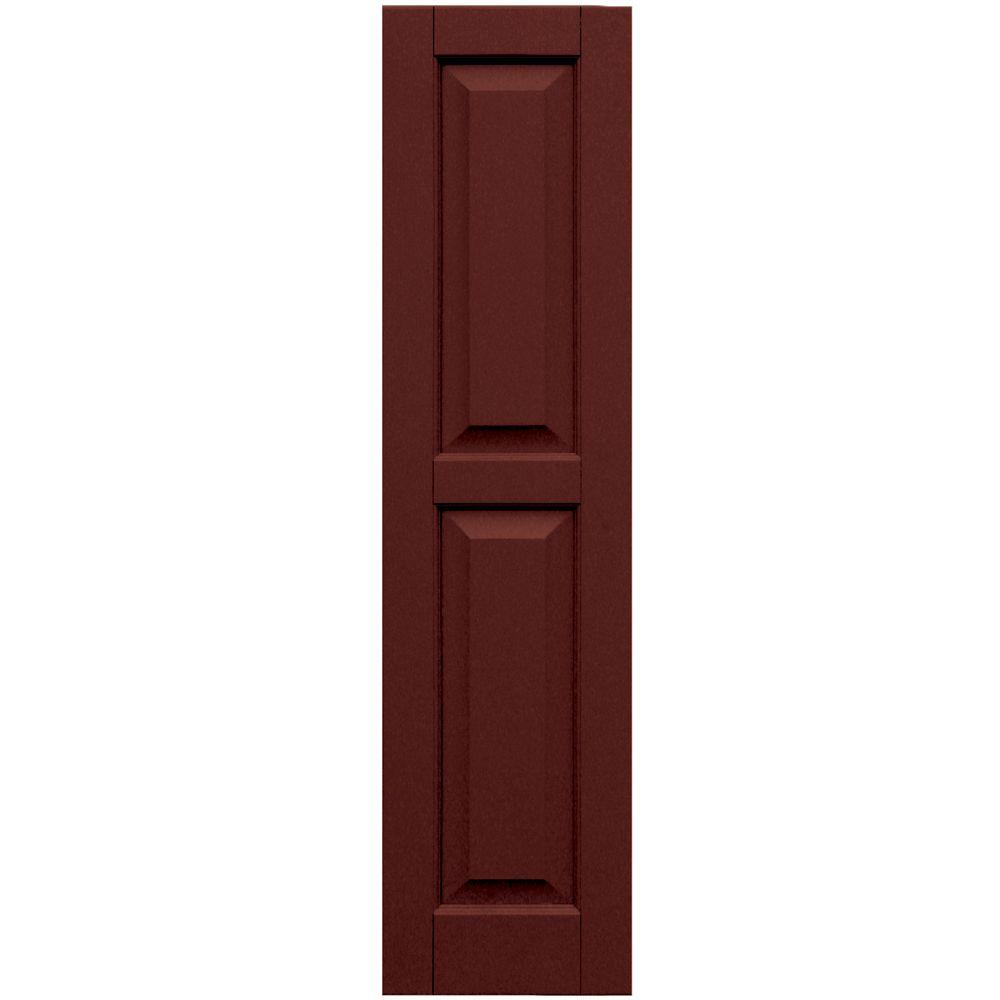 Winworks Wood Composite 12 in. x 48 in. Raised Panel Shutters Pair #650 Board and Batten Red
