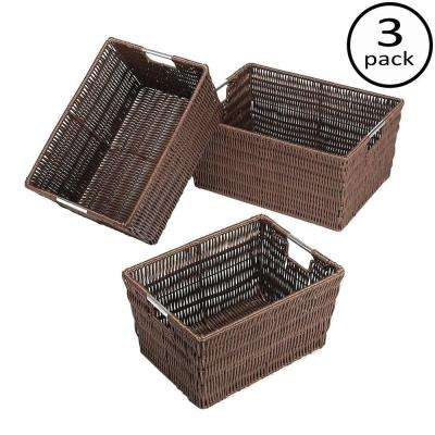 Storage Tote Collection 14.75 in. x 6.50 in. Rattique Storage Baskets in Java (Set of 3)