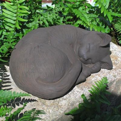Cast Stone Small Curled Cat Garden Statue Antique Gray