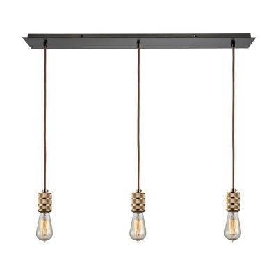 Camley 3-Light Polished Gold and Oil Rubbed Bronze Pendant