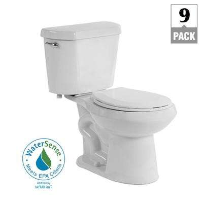2-Piece 1.28 GPF High Efficiency Single Flush Elongated Toilet in White, Seat Included (9-Pack)