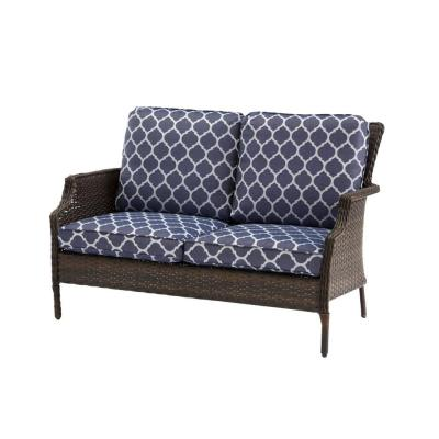 Grayson Brown Wicker Outdoor Patio Loveseat with CushionGuard Midnight Trellis Navy Blue Cushions
