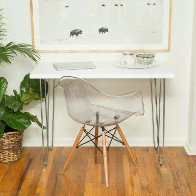 42 in. White Hairpin Leg Wood Writing Desk