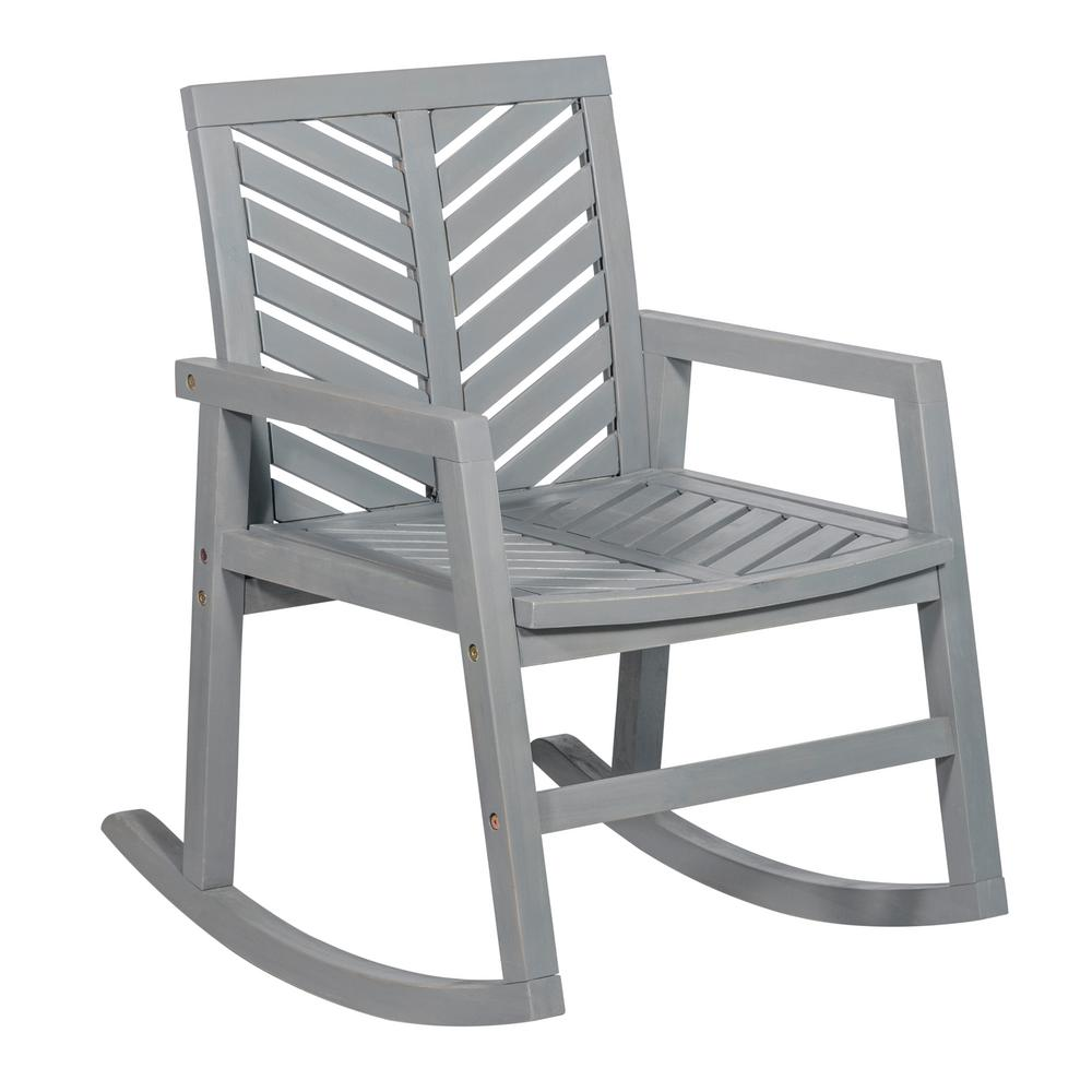 Walker Edison Furniture Company Grey Wash Chevron Outdoor Acacia Wood Rocking Chair