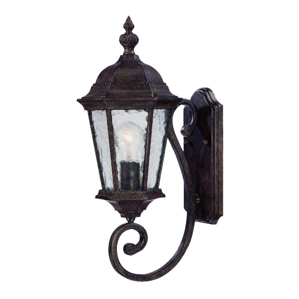 Telfair Collection 1-Light Black Coral Outdoor Wall-Mount Light Fixture