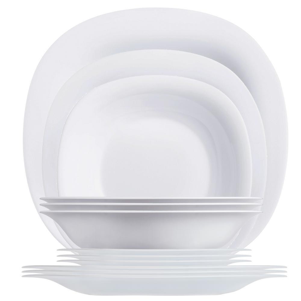 Carine 12-Piece Contemporary White Glass Dinnerware Set (Service for 4)