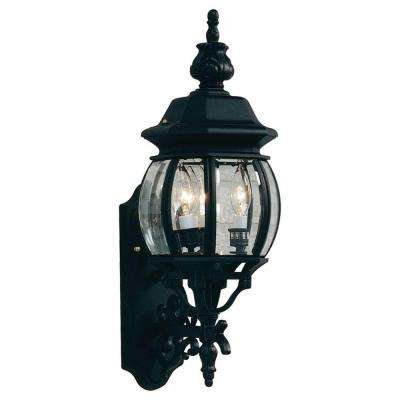 Sergej 3-Light Black Outdoor Wall Lantern