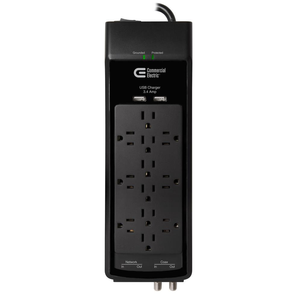 12-Outlet USB RJ45 Coax Surge Protector with 6 ft. Cord, Black
