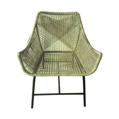 34 in. Brown Metal Plastic Arm Chair