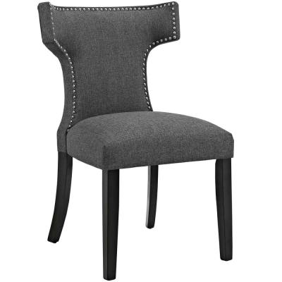 Gray Curve Fabric Dining Chair