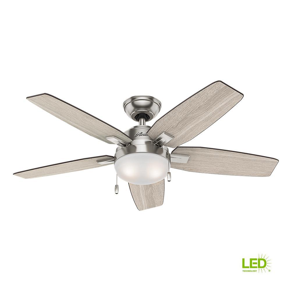 Hunter Antero 46 In Led Indoor Brushed Nickel Ceiling Fan With Wiring Light And Remote