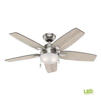 Antero 46 in. LED Indoor Brushed Nickel Ceiling Fan with Light