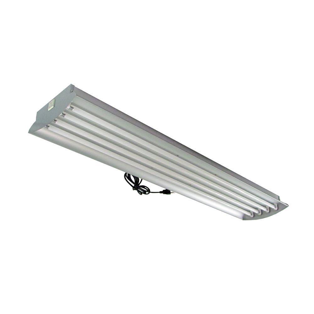 HomeSelects 4 ft. 4-Lamp High Output 54-Watt (Each) T5 Aluminum Fluorescent Grow Light Fixture with Lamps
