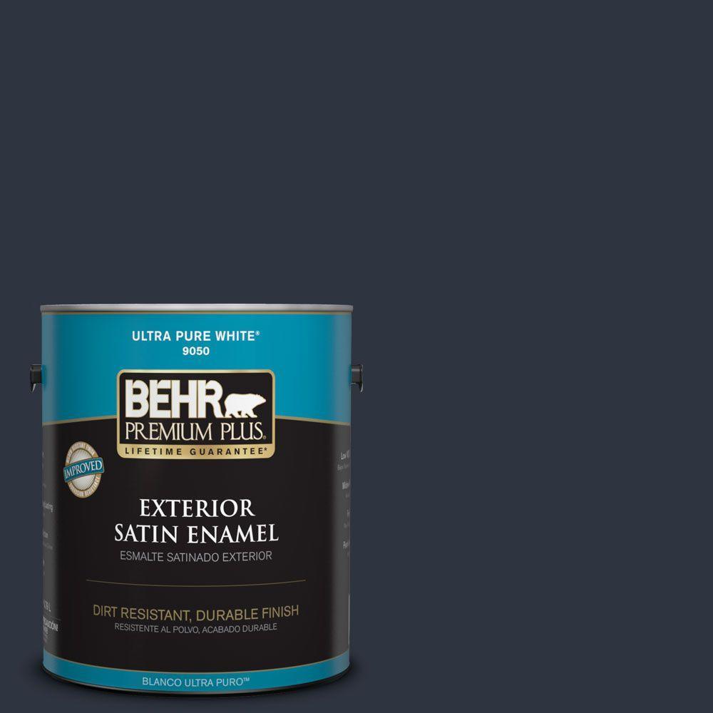 BEHR Premium Plus 1-gal. #ECC-23-3 Blackbird Satin Enamel Exterior Paint