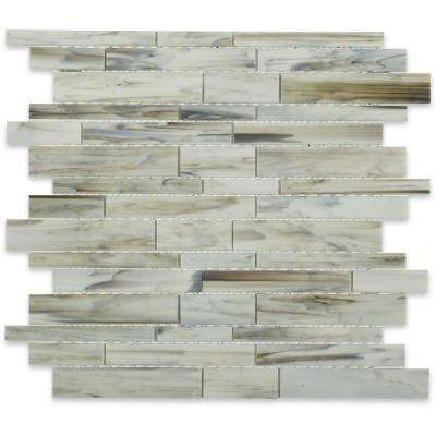 Matchstix Halo 3 in. x 6 in. x 3 mm Glass Mosaic Floor and Wall Tile Sample
