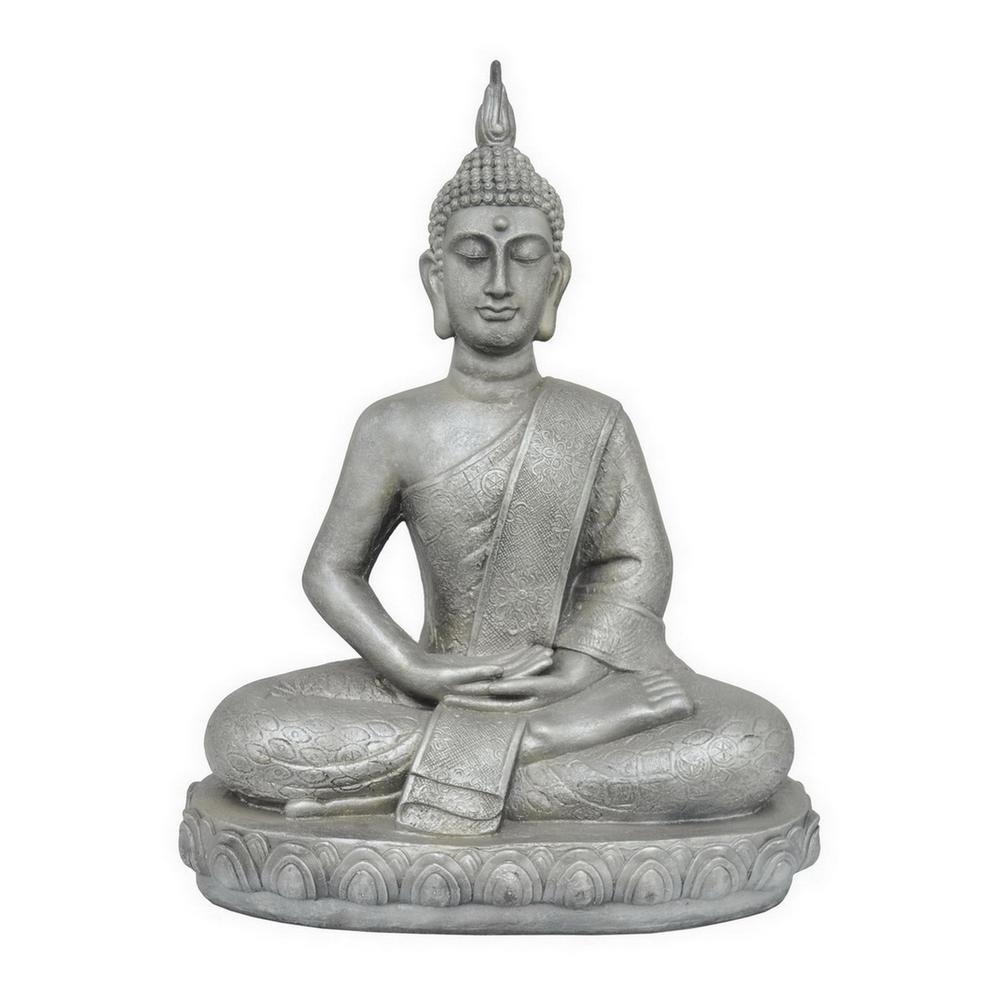 21.5 in. x 12.5 in. Sitting Buddha - Antique Silver in Si...