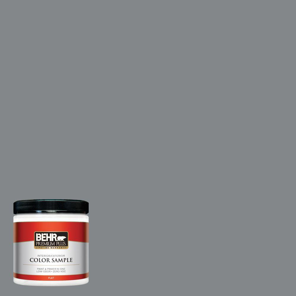 Behr Premium Plus 8 Oz N500 5 Magnetic Gray Color Flat Interior