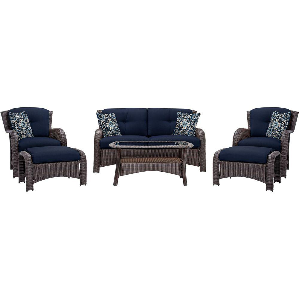 Hanover Strathmere 6-Piece All-Weather Wicker Patio Deep Seating Set with Navy Blue Cushions