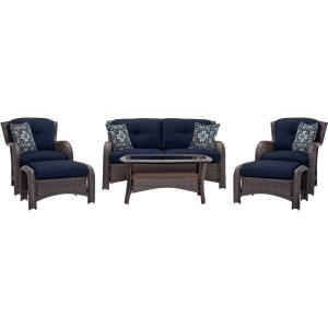 Hanover Strathmere 6-Piece All-Weather Wicker Patio Deep Seating Set with Navy Blue... by Hanover