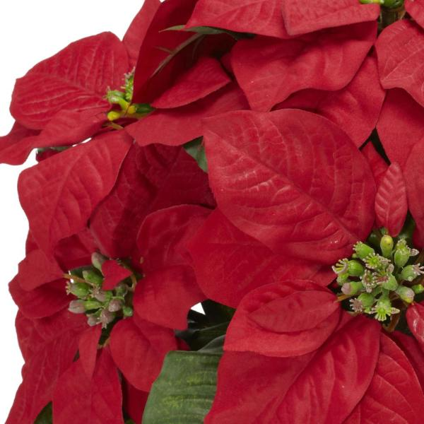 Nearly Natural 13in H Red Poinsettia With Ceramic Vase Silk Flower Arrangement 1268 The Home Depot