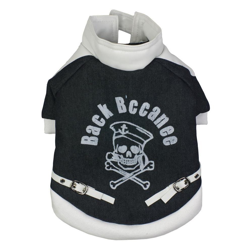 Medium Black Vasity-Buckled Collared Dog Coat