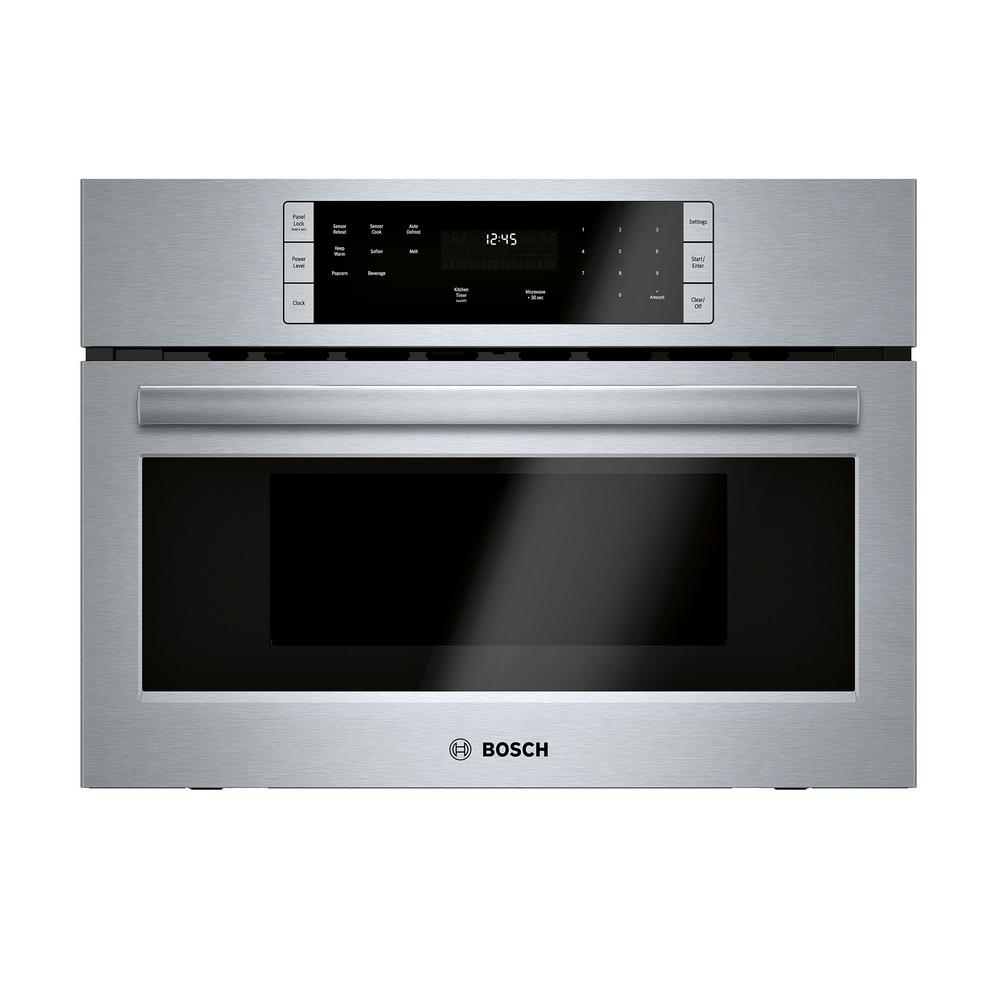 Bosch 500 Series 27 in. 1.6 cu. ft. Built-In Microwave in Stainless Steel with Drop Down Door and Sensor Cooking